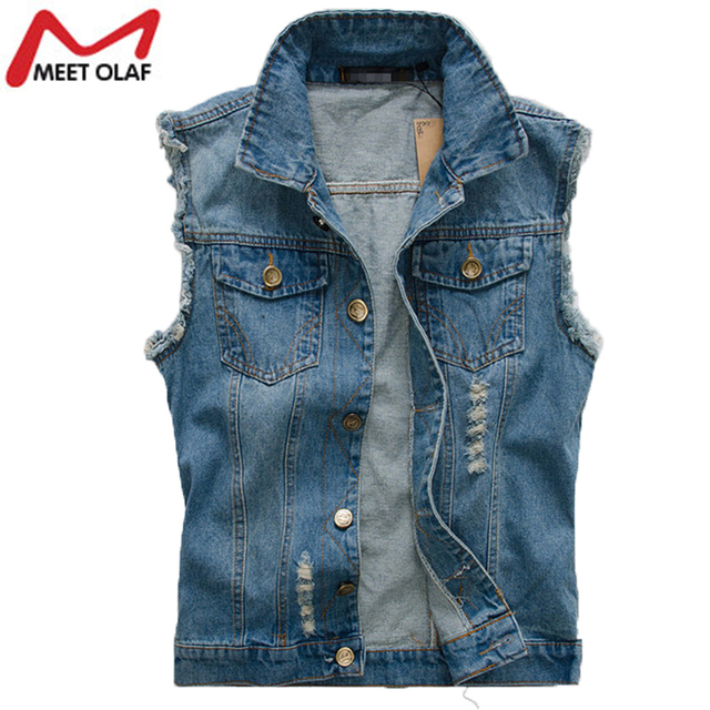 bce61780c08 Casual Male Denim Vest Men Spring autumn Hole Vintage Sleeveless Jeans Jacket  Coat Ripped Plus Size 6xl Cowboy Waistcoat YL311