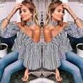 Мода Sexy Женщины Случайные Свободные С Плеча полоса Рубашка Топы