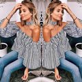 Fashion Sexy Women Casual Loose Off Shoulder stripe Shirt Tops