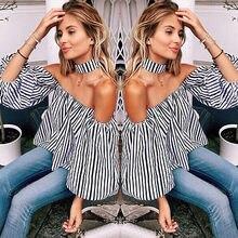 Fashion Sexy Women Casual Loose Off Shoulder stripe Shirt Tops