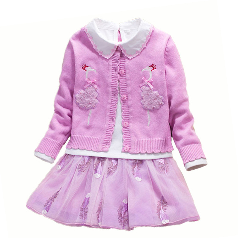 Autumn Toddler Girl Children's Sets Baby Sweater Coat Cotton Blouses Lace Skirt 3pcs Children Princess Suit High Quality high quality skirt