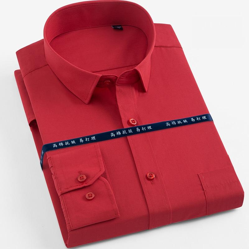 2018 Nieuwe Lente En Zomer Goede Kwaliteit Lange Mouwen Opmaken Kraag Slim Fit Plain Solid Kantoor Jurk Shirts Voor Business Mannen Reputatie Eerst