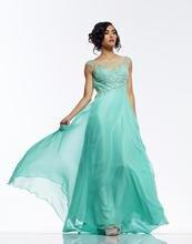 Kurze Abendkleider Neue A-line 2015 Heißer Scoop Neck Bodenlangen Chiffon Abendkleid Lange Formale Kleid Backless Drapierte F721