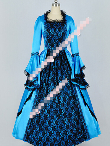 Hot Sell Custom Made Reenactment Civil War Southern Belle Ball Gown Satin Lace Dress Prom Clothing Cosplay Costume