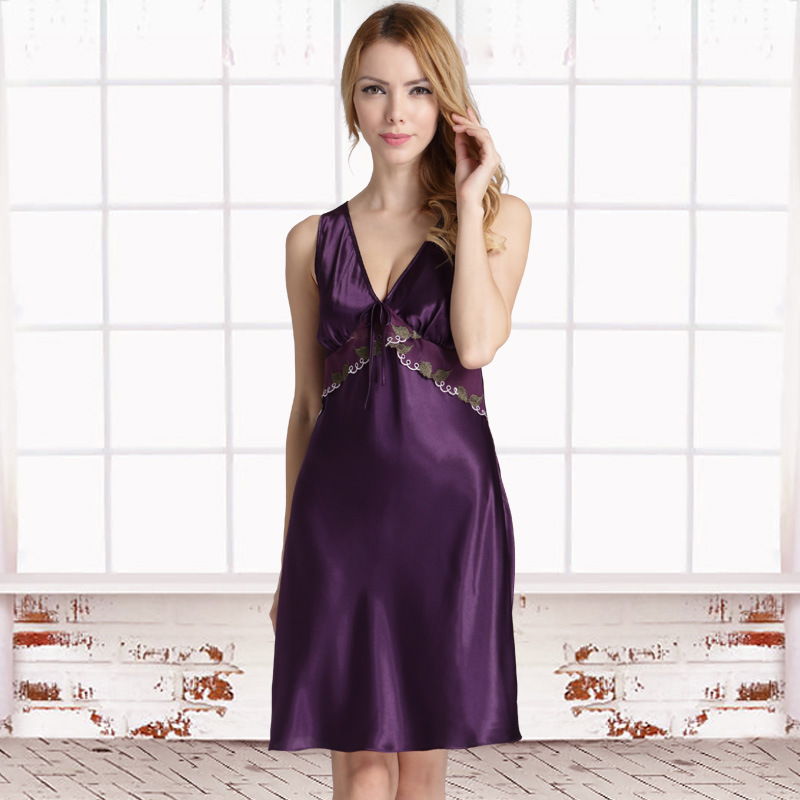 Embroidered Satin Nightgown Sexy Nighties for Women Sleepwear Sexy Nightwear Plus Size Night Dress Women Summer Sleeping Dress