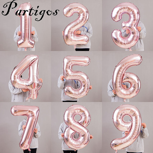 1pc 40inch Champagne Rose Gold Foil Number Balloons Wedding Birthday Party Decor Helium Globos Digit Baby Bridal Shower Gift Toy