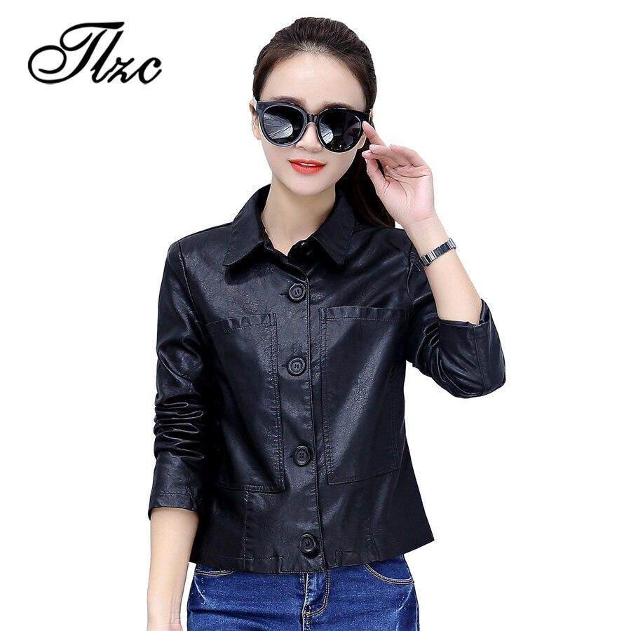TLZC 2018 New Women Winter Fashion Button Leather Jackets Plus Size M-4XL Female Long Sleeve Basic Coats Thin Slim Short Coats