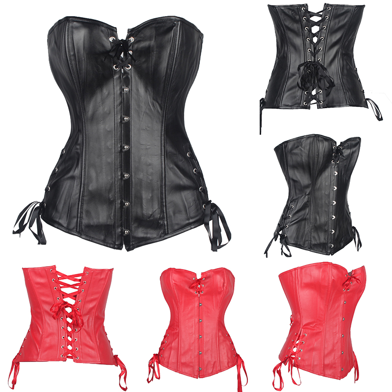 Hot-sale Lovely Pure New Women PU   Corset   Overbust Sexy   Bustier   Lace up Boned Top   Corset   Overbust Plus Size S M L XL-2XL