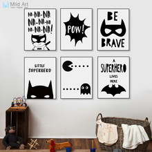 Superhero Batman Hippie Quotes Black White Poster Nordic Boy Kids Room Wall Art Home Deco Canvas Painting Print Picture No Frame