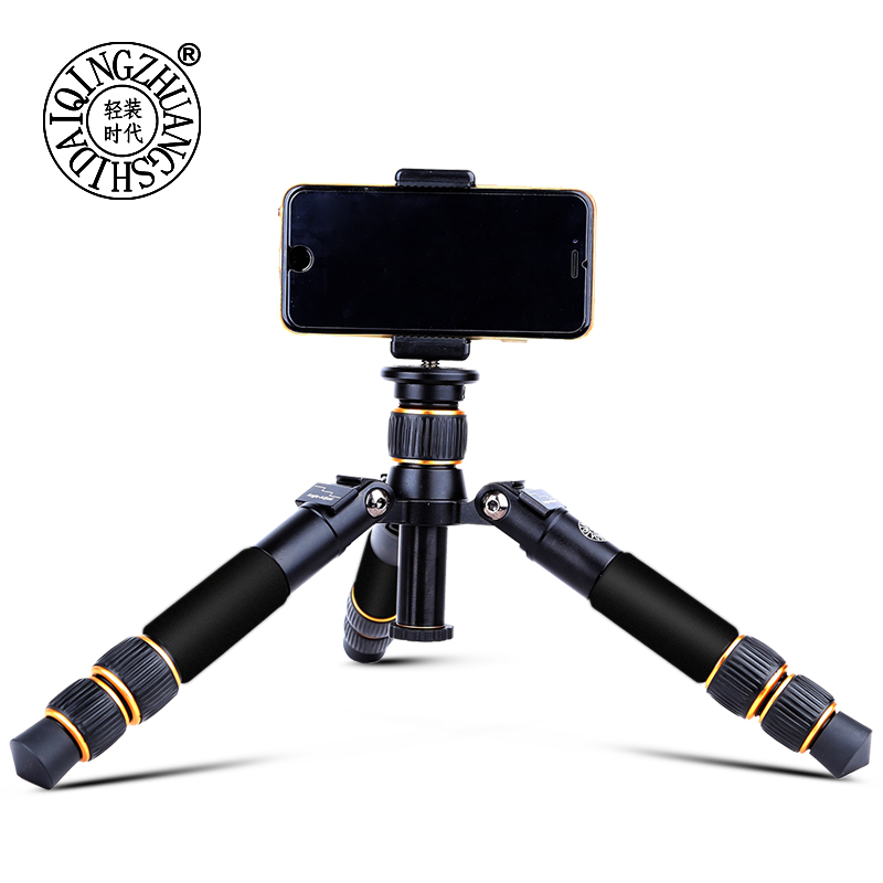 Moveski Q166A trépied de table en aluminium mini trépied portable trépied caméra flexible utilisation avec tête et monopdode avec support pour téléphone