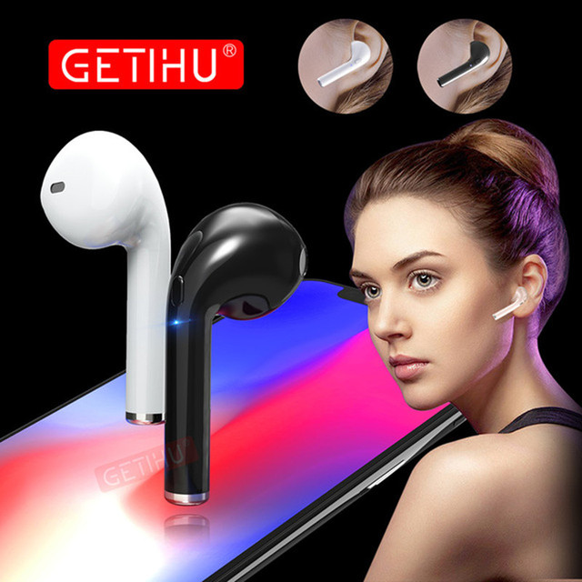 GETIHU Phone Sport Bluetooth Earphone Headphones in Ear Buds Wireless Headset Mini Earphones Headphone Earpiece For iPhone X 7 8