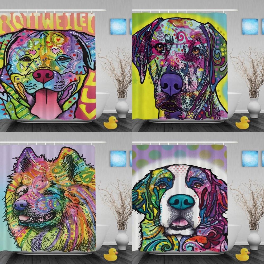 Creatieve waterdichte mooie hond Rottweiler douchegordijn badkamer - Huishouden