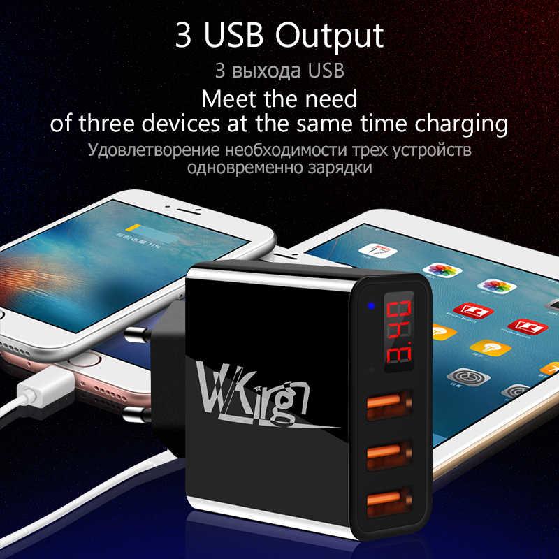 VVKing USB зарядное устройство 3.4A Смарт Быстрая зарядка светодиодный дисплей ЕС/США 3 порта USB для iPhone samsung Xiaomi huawei путешествия настенное зарядное устройство