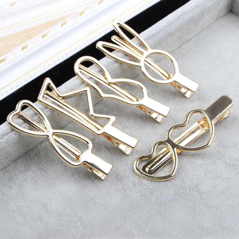Fashion Woman Hair Accessories Electroplated Gold Crown Rabbit Ear Bow Tie Love Metal Geometric Alloy Hairband Circle Hairgrip