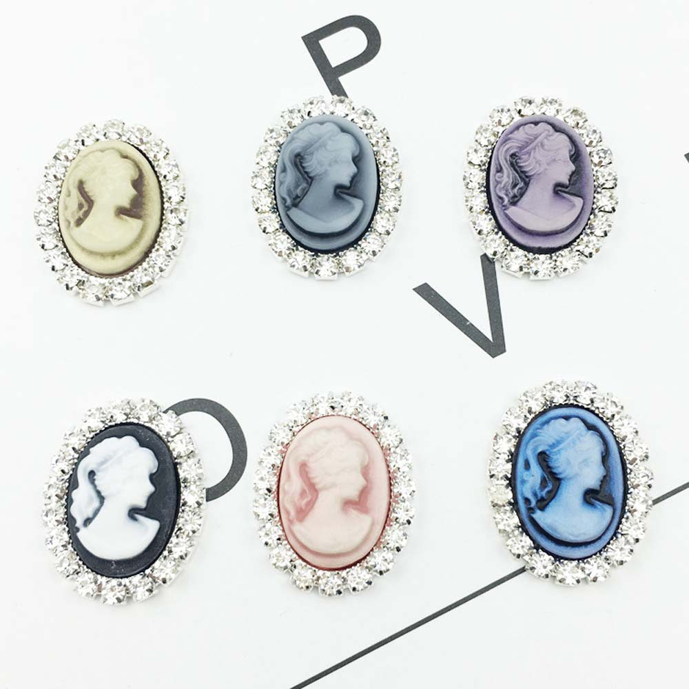 10pcs lot Oval Beauty Head Rhinestone Pearl Buttons Brooch Alloy Diamante Crystal Bow wedding decoration Sewing Accessories in Buttons from Home Garden