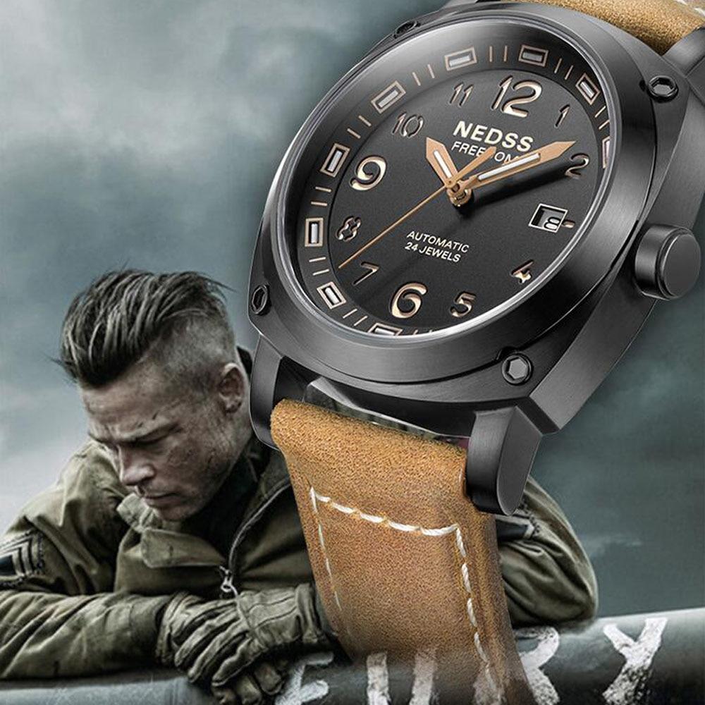 NEDSS Luxury brand watch fashionable tritium watch autmomatic watch genuine leather army Men's Original Navy SEAL Diver Watches
