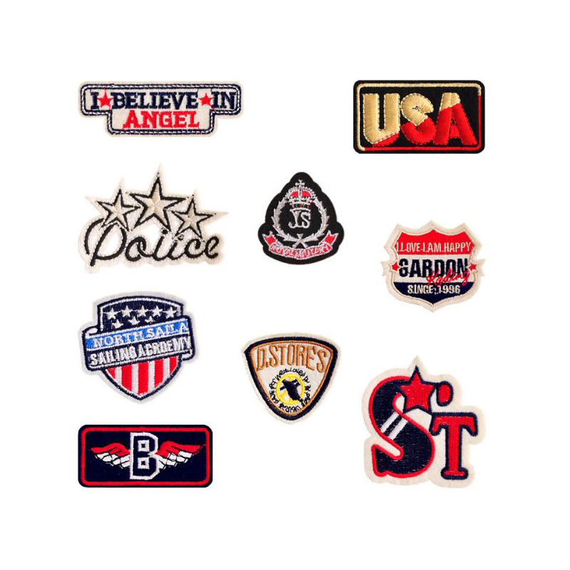 New Letters Angel ST USA I love i am happy Patches Iron On Or Sew Fabric Sticker For Clothes Badge Embroidered Appliques DIY