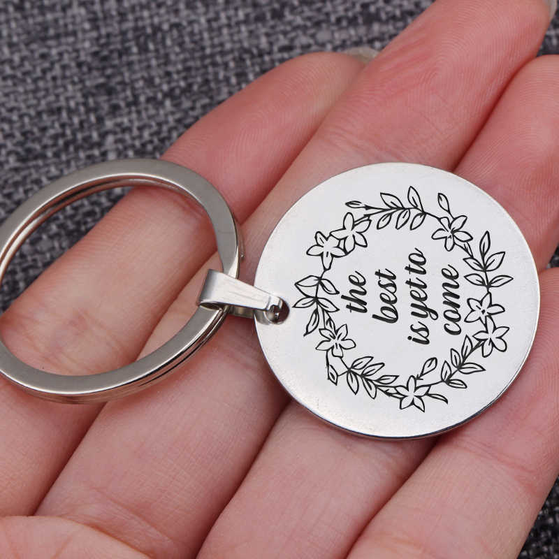 Yang Terbaik Belum Datang Petualangan Menanti Gantungan Kunci Perhiasan Liontin Gantungan Kunci 30 Mm Bulat Potongan: Gantungan Kunci Tas pesona Gantungan Kunci