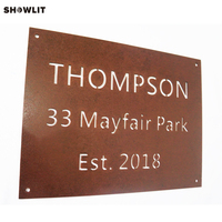 Unique Design Laser Cut Custom Made House Plaque In Rust Metal