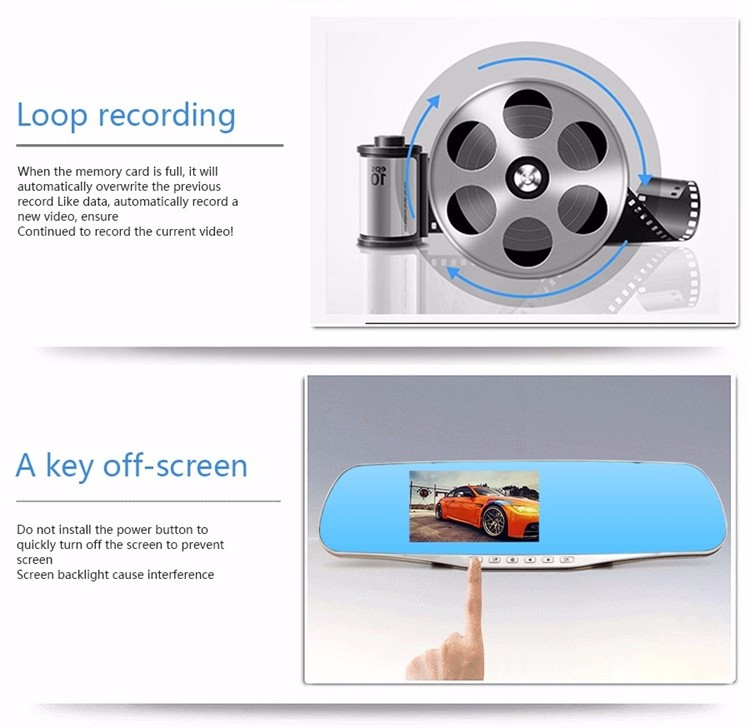 FHD 1080P car camera 4.3-inch Mirror Rearview screen dual lens Car DVR Night Vision rearview mirror auto dvrs Stop Recording 7