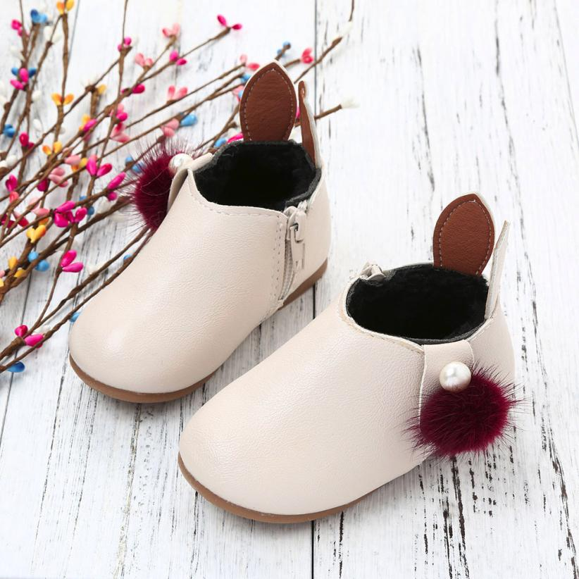 2018 New Autumn Winter Toddler Baby Girls Cute Rabbit Ears Ball Sneaker Boots Zipper Casual Shoes NO6