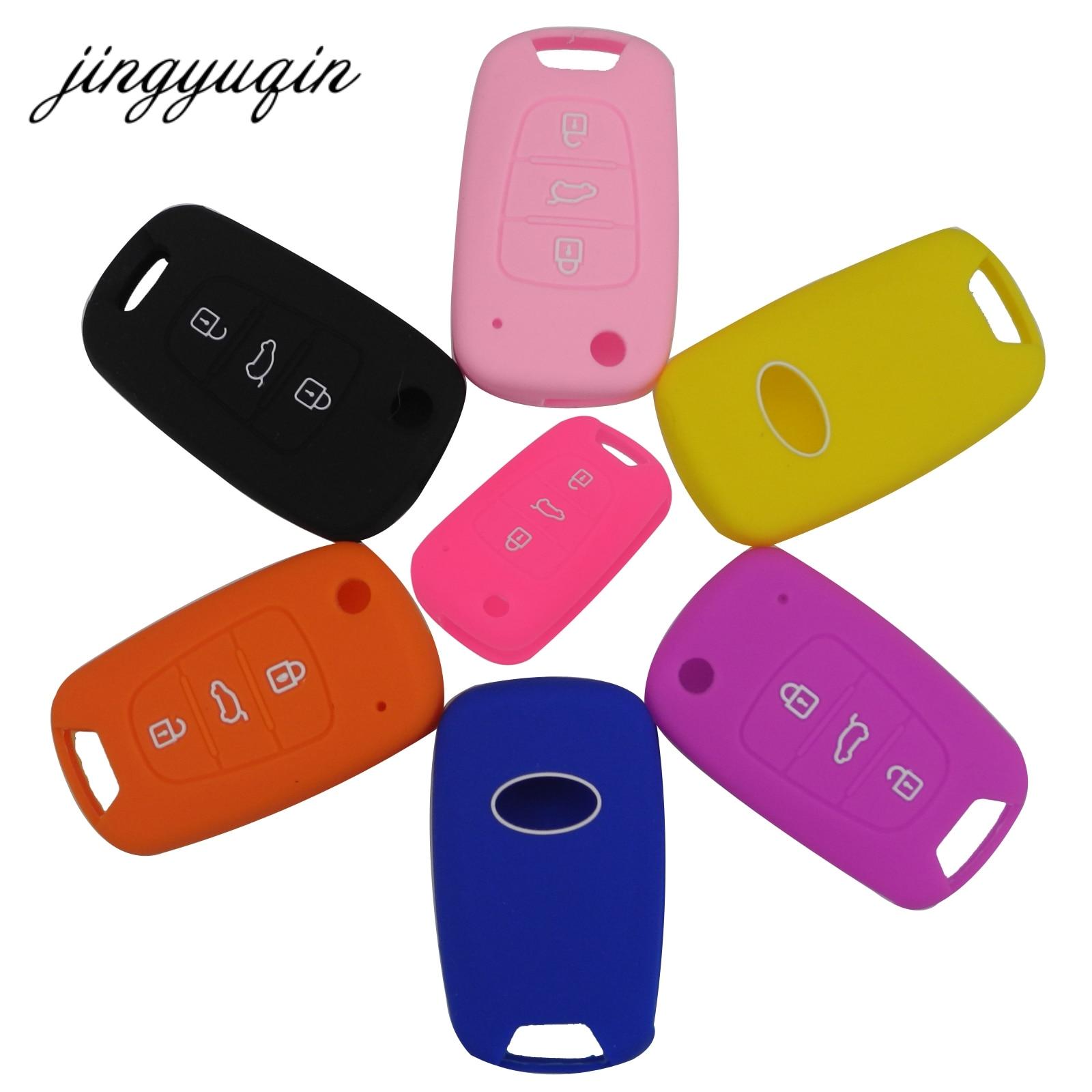 Jingyuqin Silicone Key Cover For Kia RIO K2 K5 Sportage Sorento Fit Hyundai I20 I30 I35 IX20 IX35 Solaris Verna Folding Fob Case