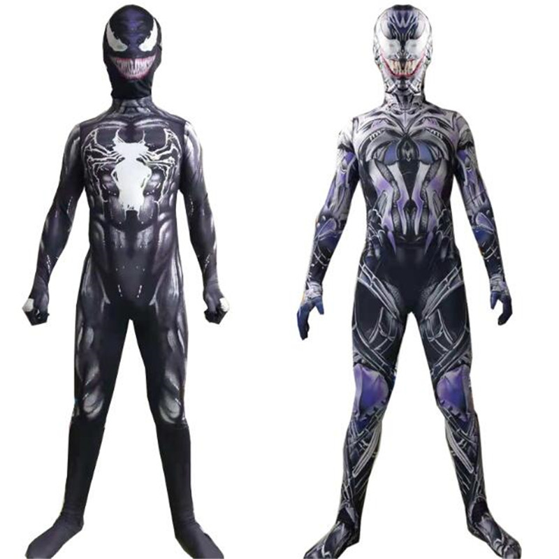 Venom Riot Edward Brock Tom Hardy cosplay Super hero Costumes Fullbody Zentai Suit Adult Kids man Jumpsuit Long Sleeve Rompers