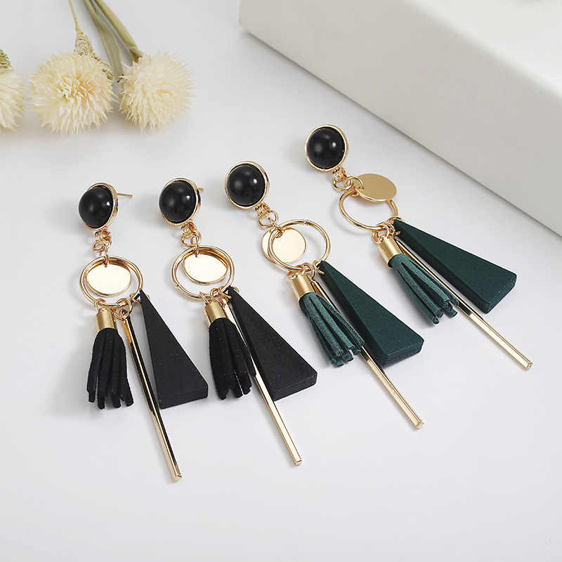 2019 Hottest Fashion Velvet Leather Tassel Triangle Wood Circle Sequins Metal Rod Long Statement Drop Earrings For Women Jewelry