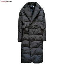 Новое зимнее хлопковое женское повседневное Свободное пальто размера плюс 6XL черная длинная Женская Стеганая куртка Chaquetas Mujer Invierno AC111
