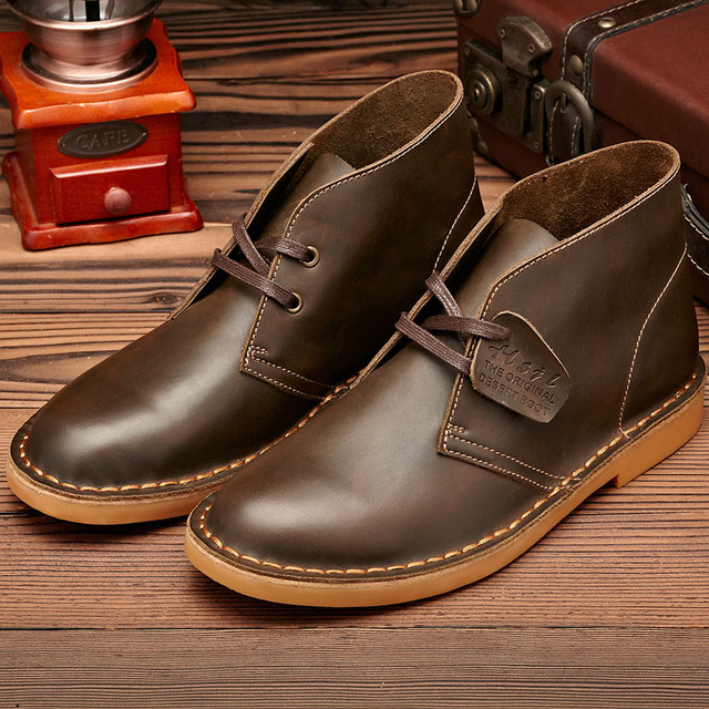 Leather Men Winter Boots Ankle Lace Up Men Boots Brown Black Leather Winter Men Shoes