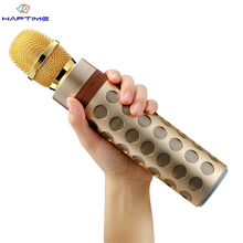 Haptime Wireless Bluetooth speaker Karaoke Microphone Professional Player Speaker Aluminum subwoofer Party KTV Sing speaker(China)