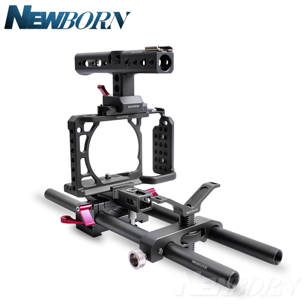 WARAXE A6 Camera Cage Rig Kit for Sony A6000 A6300 A6500 ILCE-6000 / ILCE-6300 / ILCE-A6500 with NATO Rail Handle Grip waraxe a6 camera cage for sony ilce 6000 ilce 6300 ilce a6500 with 1 4 and 3 8 threaded holes cold shoe base free shipping