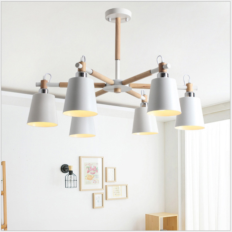 Simple Nordic and American wooden chandelier with wooden log light. Modern living room bedroom with study lamp E27 modern fashion simple circular wooden handle aluminum lid chandelier made of iron painting diameter 50cm ac110 240v