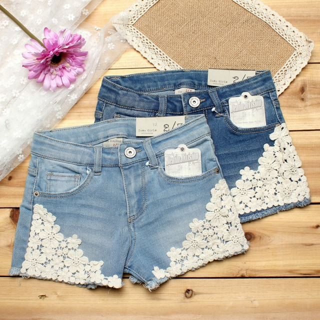 2018 summer baby girl shorts fashion girls lace Floral shorts jeans kids denim shorts Panties 2-12 Y baby wear 1
