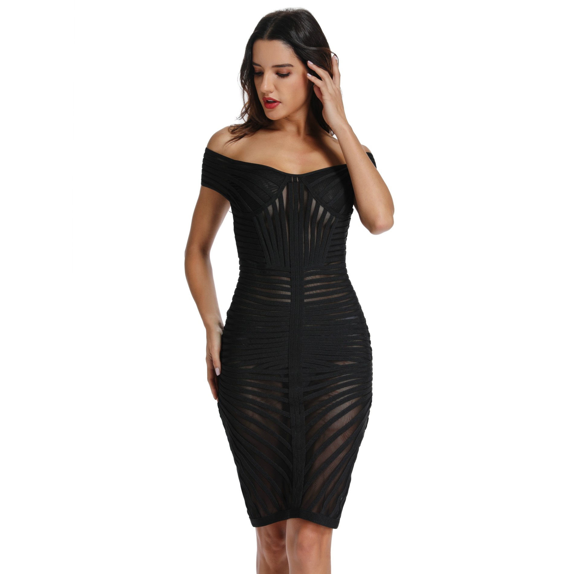 Ocstrade Bandage Dresses New Arrival 2019 Summer Black Mesh Bandage Dress Sexy Off Shoulder Bandage Women Bodycon Party Dress in Dresses from Women 39 s Clothing