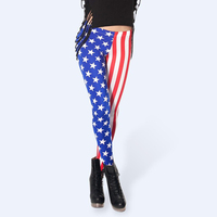 USA National Flag Leggings Girls Patterned Leggings Casual Stretchy Slimming Pants