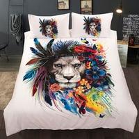 Lion Bedding Set Twin Full Queen King AU Single UK Double Size Pastoral Duvet Cover Pillow Cases 3D Bed Linen Set 3pcs