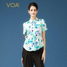 Short Sleeve Blouse For Women Sky Blue Peter Pan Collar Print Shirts VOA 34mm Heavy Silk Blouse Plus Size B139