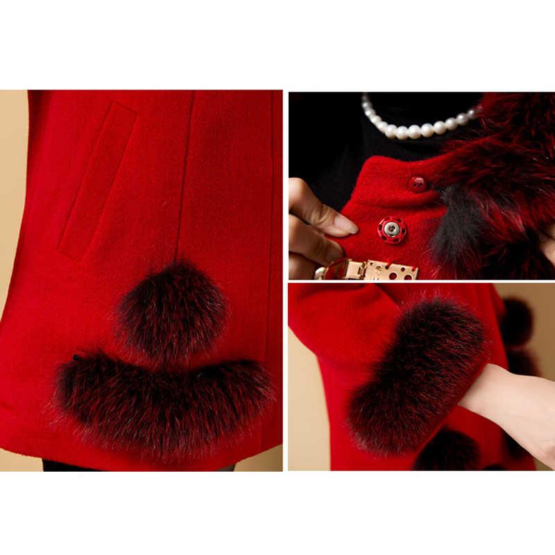 Plus Size 6XL jacke Inverno Das Mulheres De Lã de Alta Qualidade Moda Sólidos Magro Longo Casaco Grande Gola De Pele Casaco de Inverno Elegante