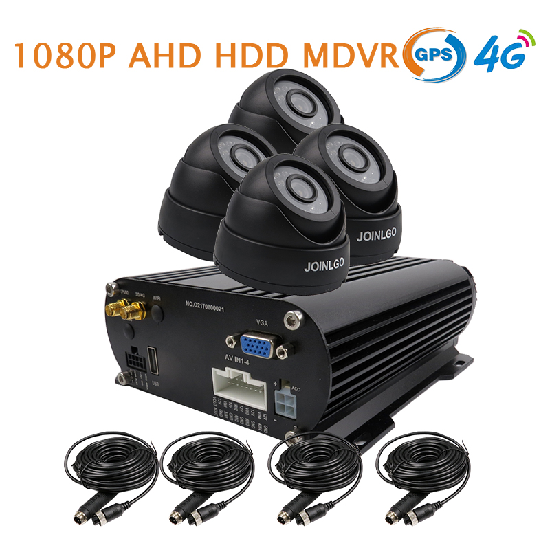 Free Shipping 4 Channel GPS 4G 1080P AHD 2TB HDD Hard Disk Car SD DVR MDVR Video Recorder Realtime Monitor In Car Dome Camera brand new 4 channel h 264 i 0 128gb sd car vehicle dvr mdvr d1 cif video recorder cycle recording in stock free shipping