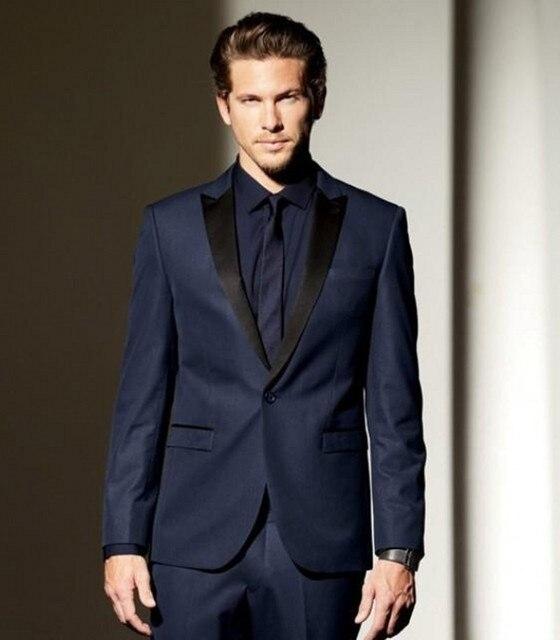 Custom Made Groomsmen Peak Black Lapel Groom Tuxedos Navy Blue ...