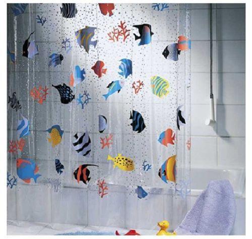 Heavy Duty Bathroom Shower Curtain Fish Pattern New See Through ...