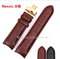 22mm 23mm 24mm New High Quality Silver Gold Butterfly Buckle Black Brown Genuine Leather Curved End