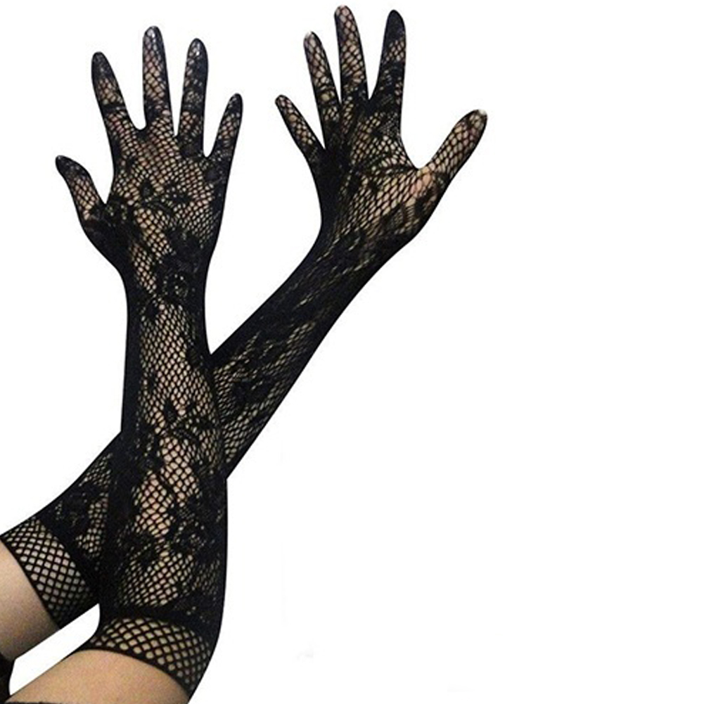 1Pair Women Lace Long Gloves Female Solid Color Mesh Floral Gloves Party Sexy Lady Party Mittens Accessories 2019