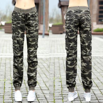 Camuflagem primavera do sexo feminino calças skinny calças casuais macacões soltos para fora da porta de multi bolso calças Stretch Cintura Mulheres Z956