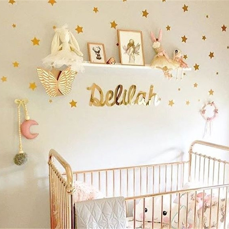 Black Gold And Sliver Stars Wall Sticker DIY For Kids Rooms Baby Nursery Bedroom Home Decoration Removable Mural Decor Supplies