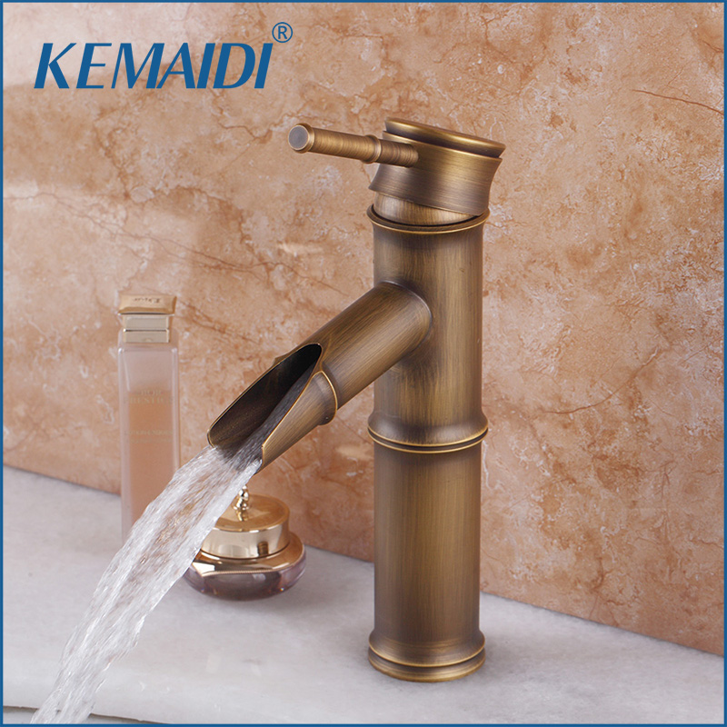 KEMAIDI Waterfall New Deck Mount  Classic Antique Brass Bathroom Basin Sink Faucet Vanity Vessel Single Handle Mixer Tap Faucet new designed antique brass bamboo arts bathroom basin sink drain pop up waste vanity with overflow