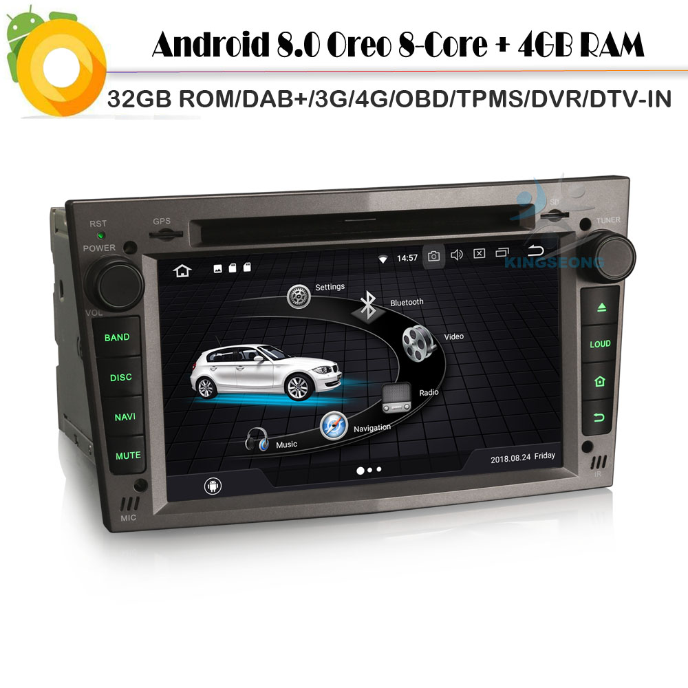 Android 8.0 Autoradio Octa Core Car Radio Player Nav Bluetooth DAB+ for Opel Vectra C Signum Zafira Corsa WiFi 4G GPS DVR OBD2