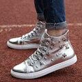 Invierno de Los Hombres Altos Tops Zapatos Casuales de La Moda de Oro Británico de Punk Remache Botas Zapatos Hombre Suave Piel de Encaje Hasta Zapatos de Los Planos