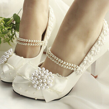 New Lovely Style Handmade Low Heel Bowtie Amond Toe Shoes Lace Pearl Princess Shoes Evening Party Bridal Wedding Shoes